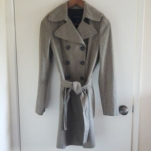 Banana Republic Taupe Plaid Overcoat Trench Coat